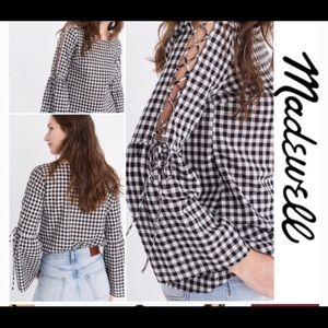 Madewell Women's M, Black and White Gingham Blouse